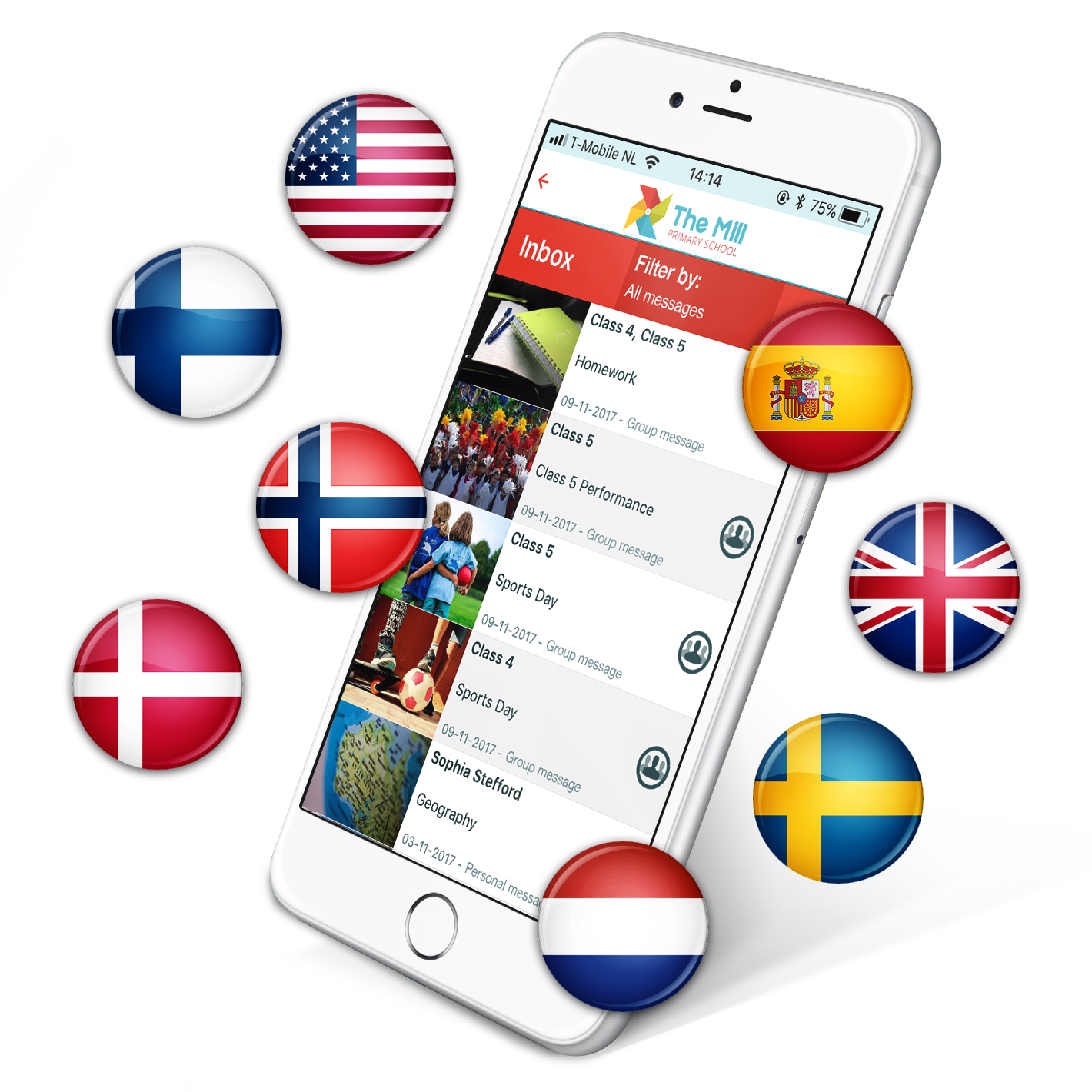 School app supported languages ParentCom
