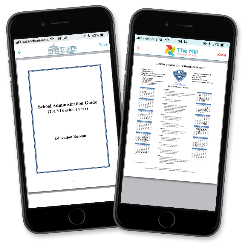 Adding PDFs is useful for very specific or extensive information. It is also possible to archive old newsletters in the school app.