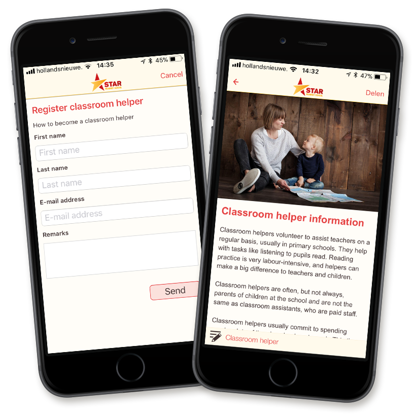 Simply create a form in the app and enable parents to sign up