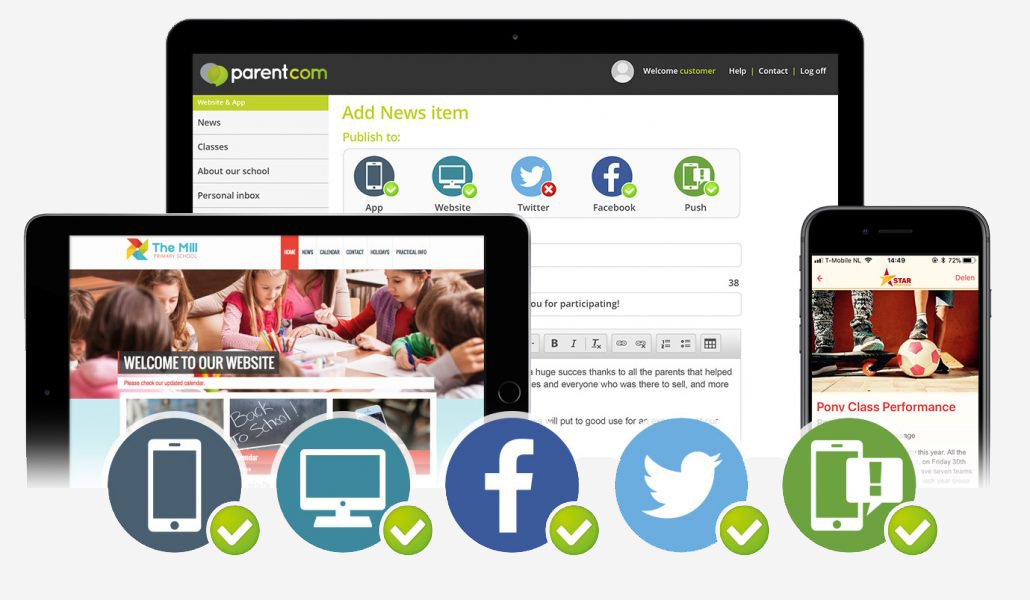 Quickly add content to your school website, school app and social media with the communication cockpit