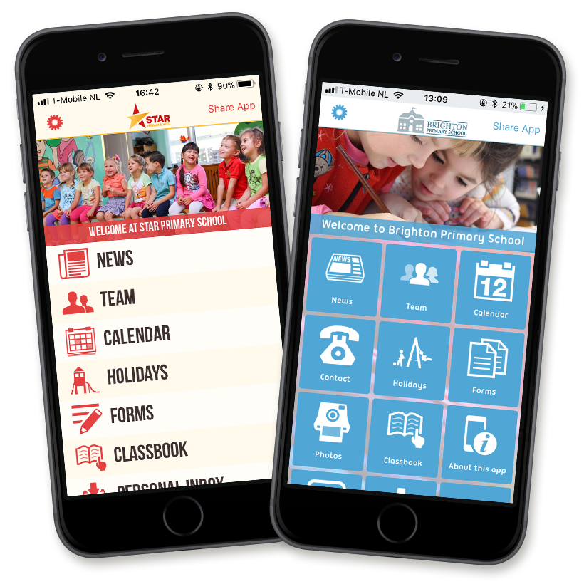 we help you devise your own app using our standard building blocks, all in your school's look & feel